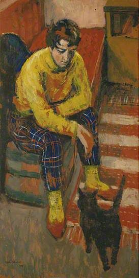 The Painter's Wife with Cat by Keith Clements , 1958.  Oil on board,  Collection: University of Sussex