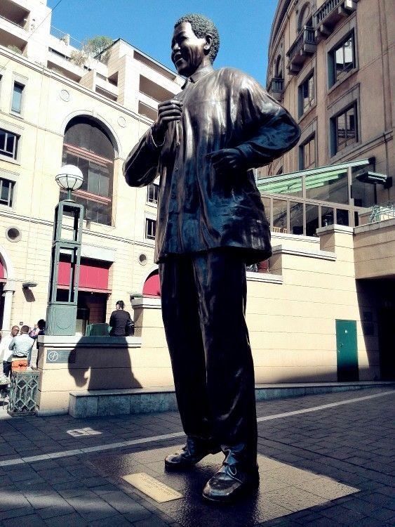 The full-body statue of Nelson Mandela situated in Sandton,  Johannesburg.
