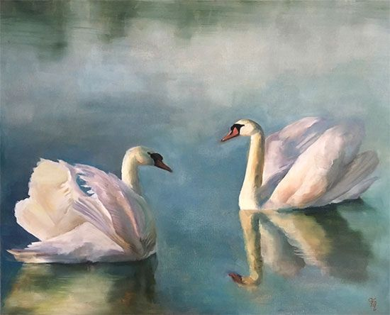 'Ann's Swans', beautiful oil painting of swans on a lake by Trish Mitchell