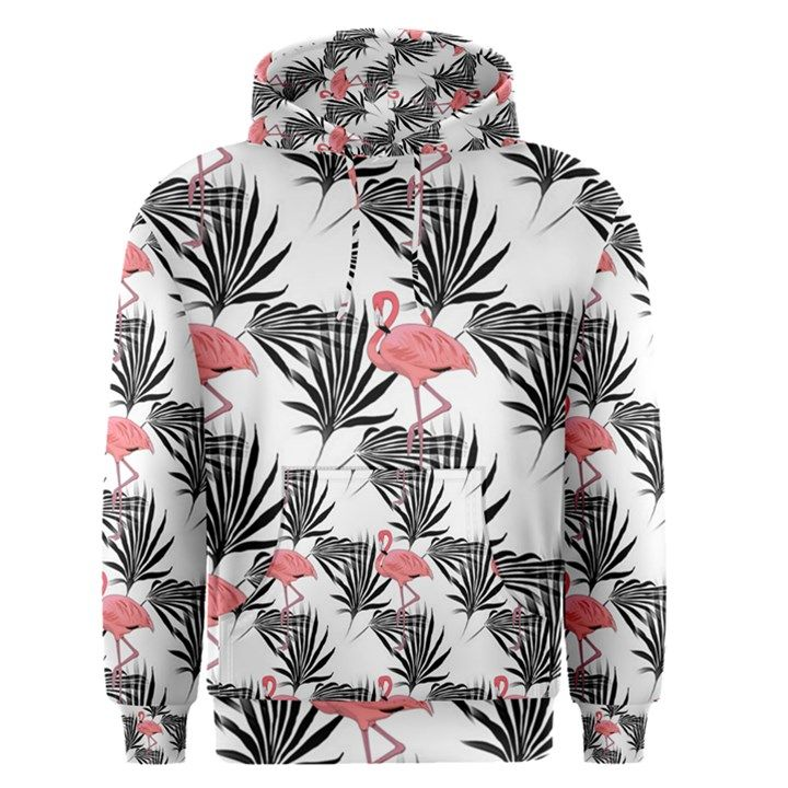 Flamingos Palmetto Fronds Tropical Pattern Men s Pullover Hoodie