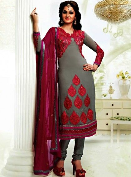 Shop Here.. http://www.silkmuseumsurat.in/salwar_kameez/grey-color-faux-georgette-fabric-pakistani-suit Item #: 3916 Grey Color Faux Georgette Fabric Pakistani Suit Color : Grey Fabric : Faux Georgette Occasion : Bridal, Casual, Festival, Party, Reception, Wedding Style : Pakistani Salwar Kameez Work : Embroidered, Patch Border