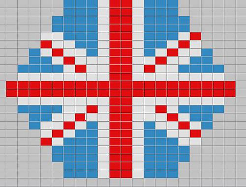 Union Flag chart for cross stitch buttons #UK