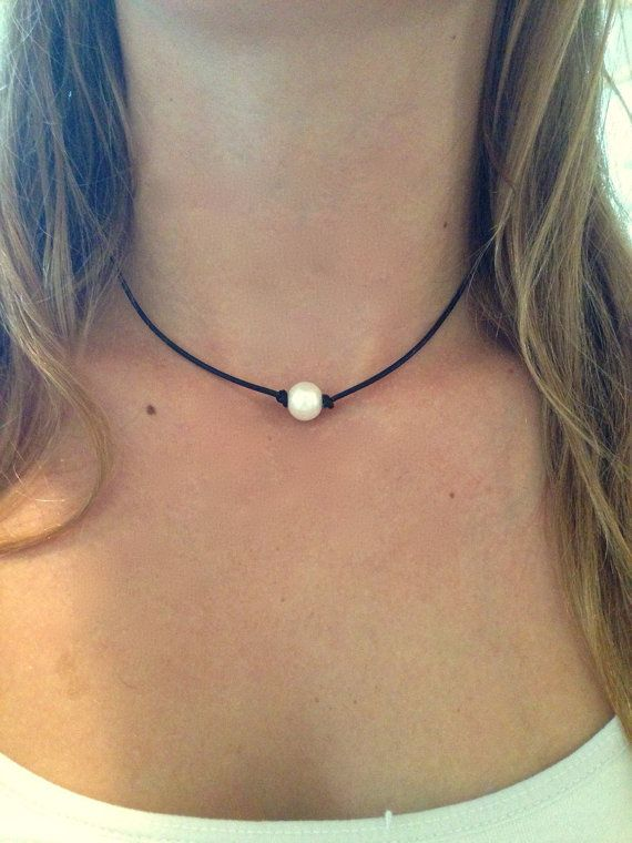 Single Freshwater Pearl Leather Choker Necklace by AlliesCharms