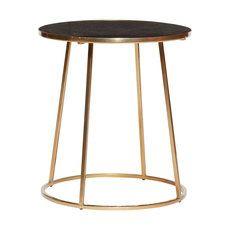 Design salontafel rond zwart goud marmer