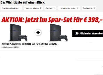 Knaller: Zwei PS4 bei Mediamarkt zum Preis von einer bestellen https://www.discountfan.de/artikel/technik_und_haushalt/knaller-zwei-ps4-bei-mediamarkt-zum-preis-von-einer-bestellen.php Im Onlineshop des Mediamarkt sind ab sofort zwei PS4 zum Preis von einer zu haben: Discountfans zahlen für das Doppelpack nur 398 Euro, Vergleichspreise im Netz beginnen für die PS4 bei 279,90 Euro. Knaller: Zwei PS4 bei Mediamarkt zum Preis von einer bestellen (Bild: Mediamarkt.de) Das D..