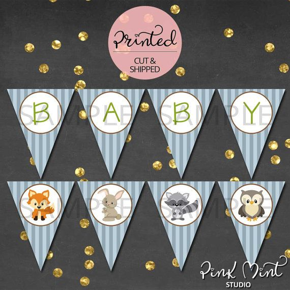 Woodland Baby Shower Banner Woodland Pennant by PinkMintStudio