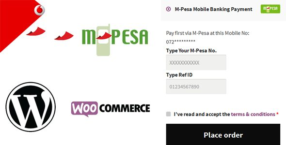 M-Pesa Mobile Payment for WooCommerce . Add M-Pesa Mobile Banking Payment option as an extra E-Commerce Payment option in your WooCommerce