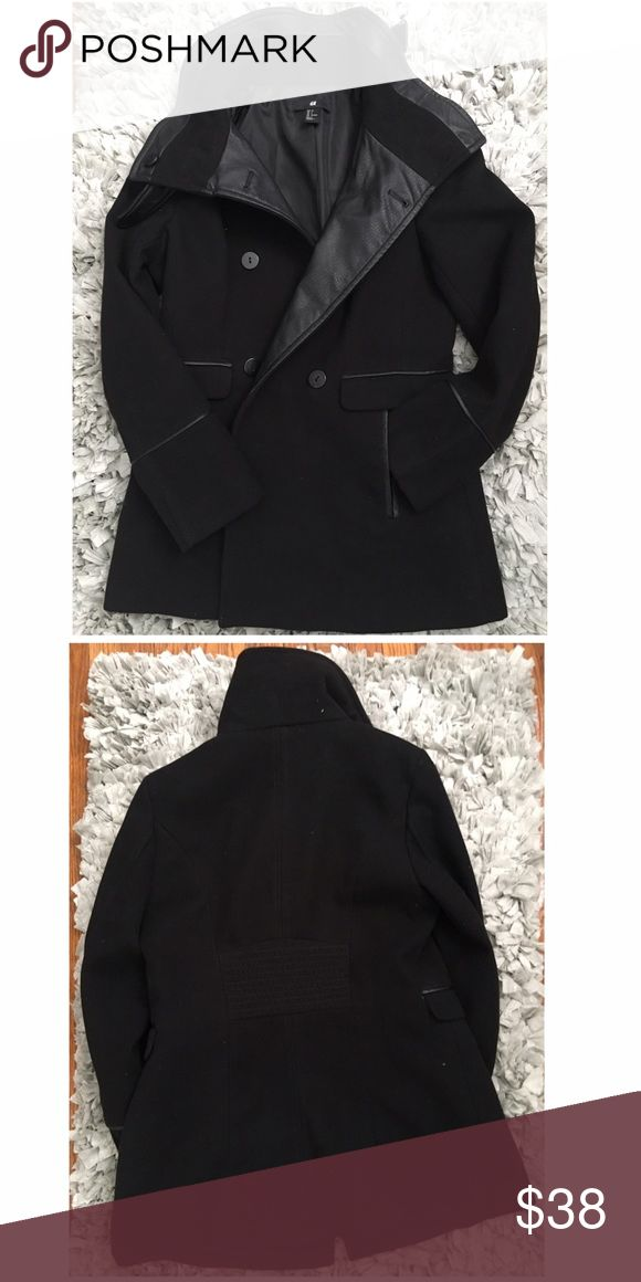 Black H&M Coat Black Thick, H&M coat with leather detailing. Button down with neck strap. H&M Jackets & Coats