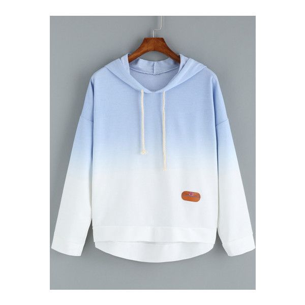 SheIn(sheinside) Blue Ombre Hooded Dip Hem Sweatshirt ($15) ❤ liked on Polyvore featuring tops, hoodies, sweatshirts, grey, hoodie sweatshirts, gray hooded sweatshirt, pullover sweatshirts, hooded sweatshirt and grey pullover hoodie