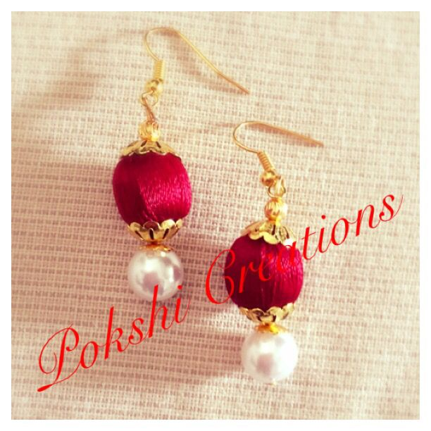 Silk thread Jewellery - red and petal ear ring