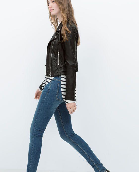 zara woman faux leather biker jacket wardrobe 2016