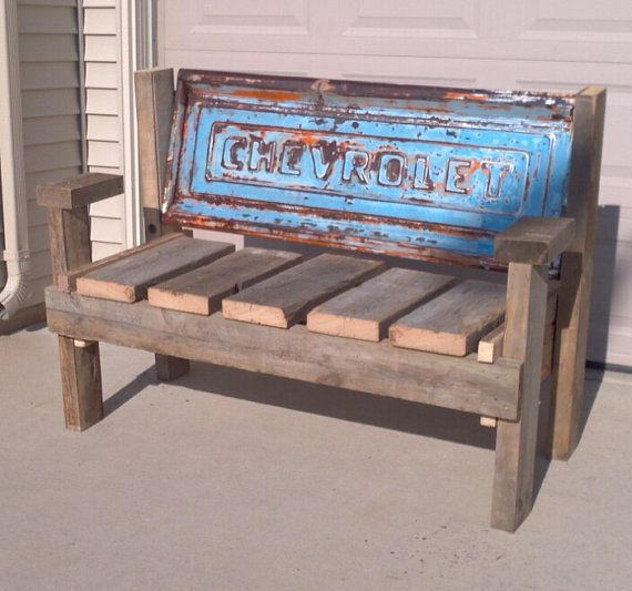 Stepside Chevrolet Tailgate bench with reclaimed by TailgateGuy
