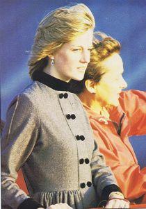 10 June 1982 - Princess wears a wool flannel coat dress featuring black velvet mandarin collar and cuffs designed by Arabella Pollen.