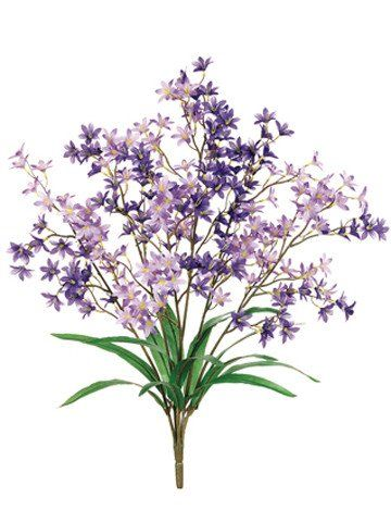 "Faux Tweedia Flower Bush in Two Tone Purple<br>5.5"" Wide x 24"" Tall"