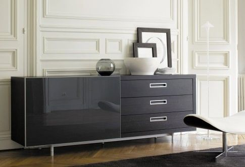 ligne roset cineline sideboard aluminum lacquered feet with textured tips at front includes. Black Bedroom Furniture Sets. Home Design Ideas