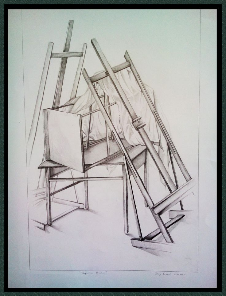 Still Life of Easels –  Casey Richards,  24 August 2014,  Pencil Drawing