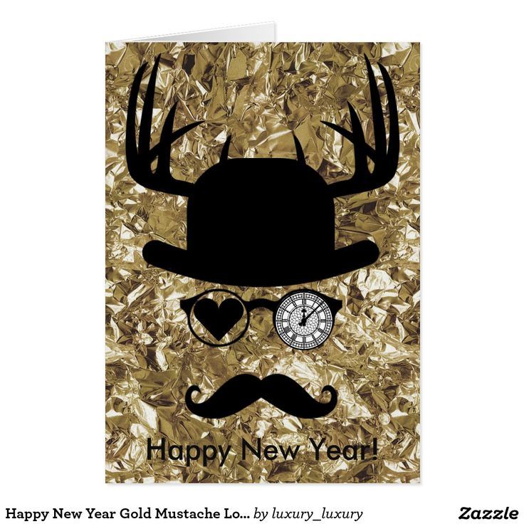 Happy New Year Gold Mustache London Greeting Card