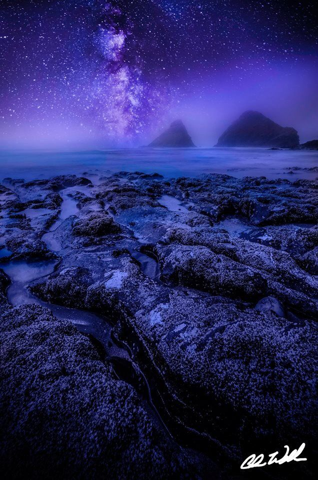The Milky Way seen through the mist at Haceta Head Lighthouse Beach in Oregon.   Prints: cwexplorationphotography@gmail.com  Website: www.cwexplorationphotography.com