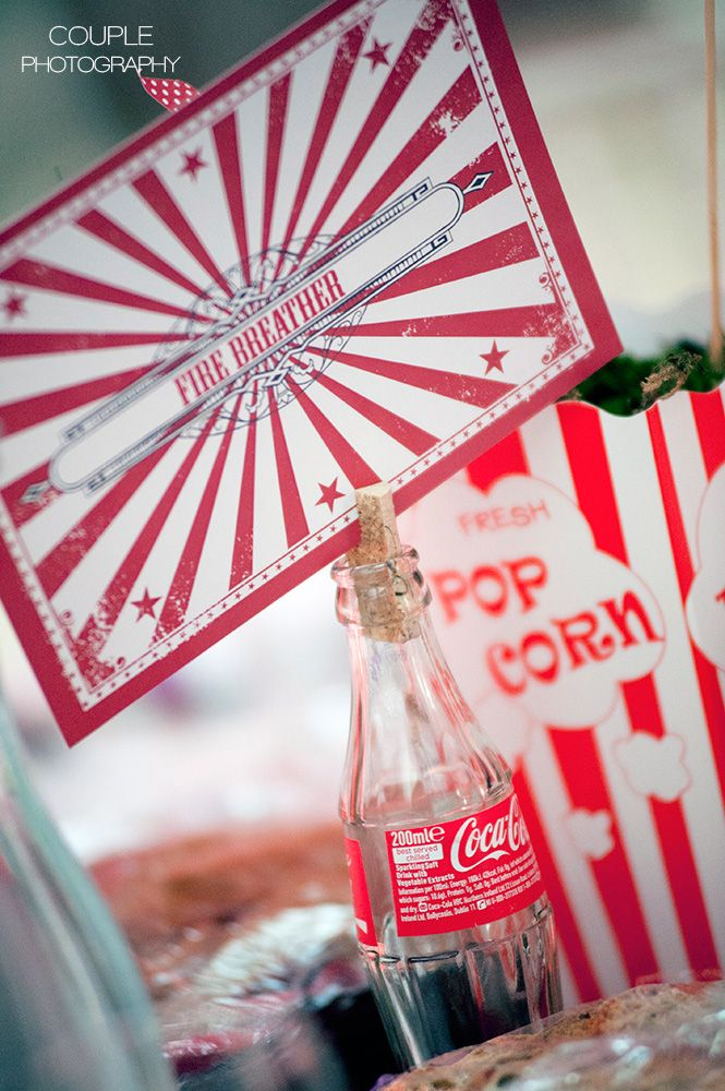 Circus inspired table decorations. Irish Marquee weddings photographed by Couple Photography.