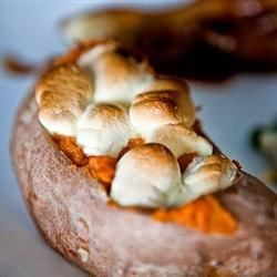 Twice-Baked Sweet Potatoes are very do-ahead. If you find yourself in a pre-feast frenzy, skip spooning them back into the sweet potato cups and just warm the puree and serve it as is.
