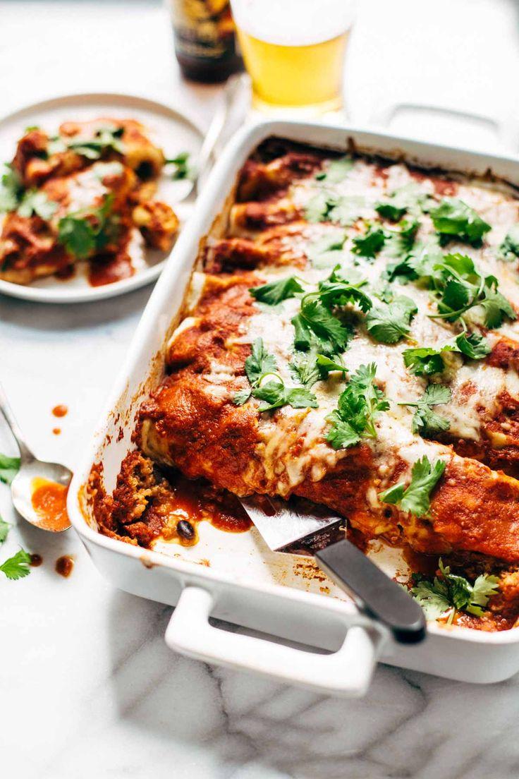 Chicken Quinoa Enchiladas - you won't believe how easy this recipe is! Comfort…