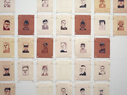 EMILY PRINCE -  American Servicemen and Women Who Have Died in Iraq and Afghanistan (But Not Including the Wounded, nor the Iraqis nor the Afghans)   2004 - to present  The work is a tribute to every American soldier killed in Iraq and Afghanistan since 2004. Comprising of 5,158 drawings this ongoing memorial project brings attention to the human cost of war, turning statistics back into portraits of real lives sacrificed on the field.