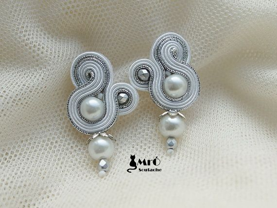 White and silver   soutache earrings  Wedding by MrOsOutache