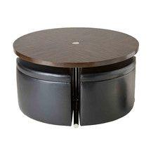 Soiree 5 Piece Coffee Table & Storage Ottoman Set