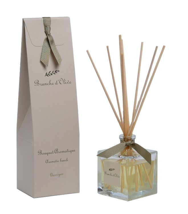 Branche d'Olive's elegantly bottled diffusers continuously scent living spaces for up to two months and may be replenished from our range of Refills.  Available in two sizes:  100ml is ideal for desks, bedside tables or small cloakrooms; larger areas will