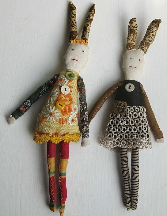 Little dolls made with vintage fabrics by textile artist Mandy Pattullo