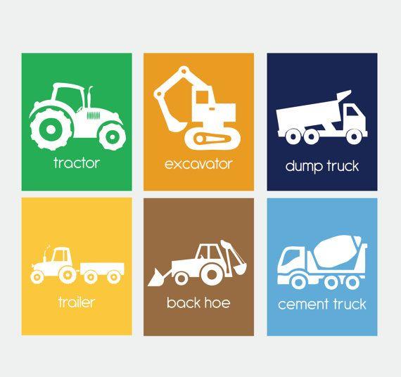 Tractor printable wall art- 6 files! Tractor, Excavator, Dump Truck Trailer, Back Hoe, Cement Truck