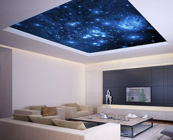 Ceiling sticker mural space blue stars galaxy night by for Ceiling mural in smokers lounge