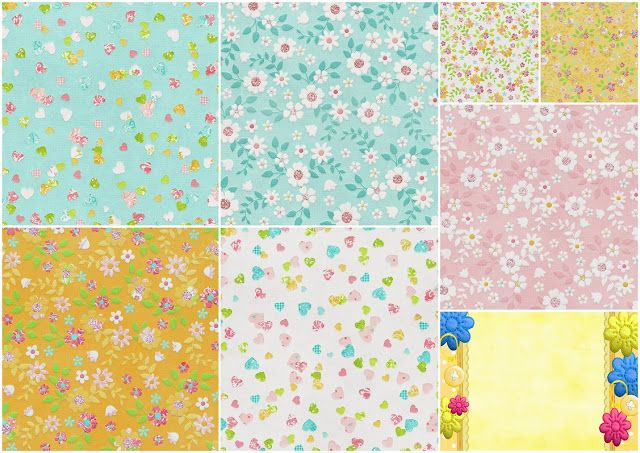 Flowered  Papers of the Sweet Spring Clip Art.