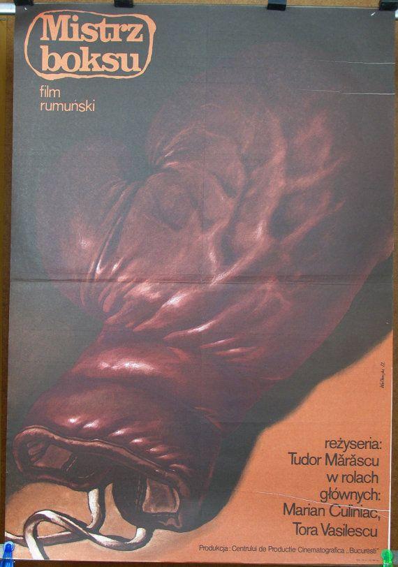 Romanian movie 1981 by Tudor Marascu – 'Boxing champion'. Polish poster by Wieslaw Walkuski 1982