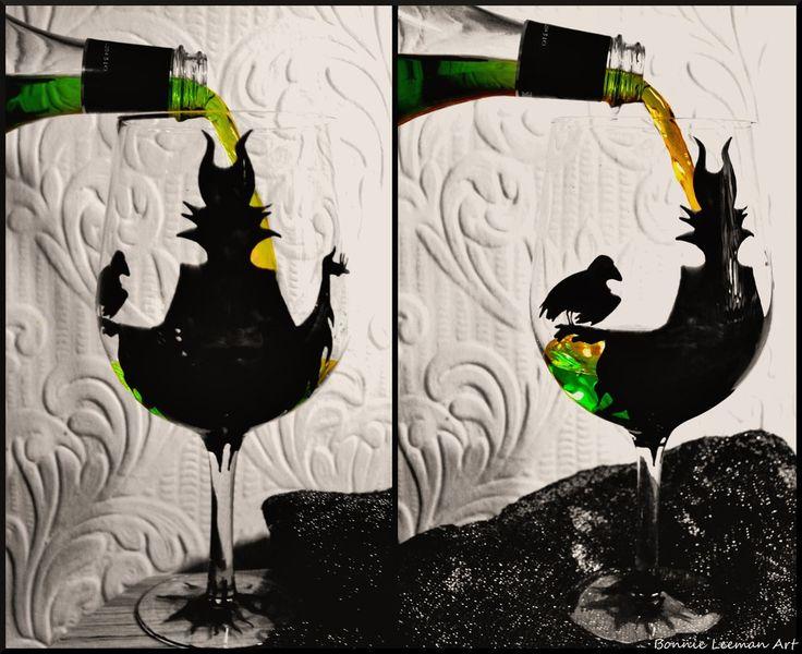 Maleficent Wine Glass by Bonniemarie.deviantart.com on @deviantART