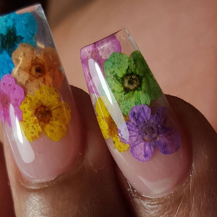 Floral Ballerina Nails With Real Flowers Encased Within The Acrylic!