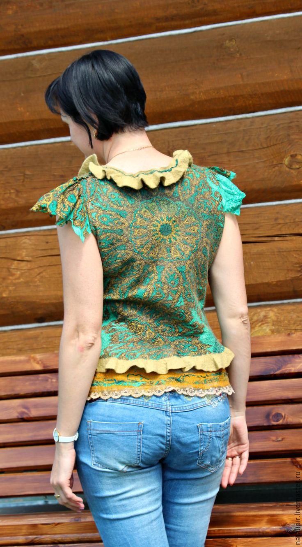 Купить кокетка - оливковый, орнамент, подарок на любой случай, нунофелтинг, валяние из шерсти, блузка женская