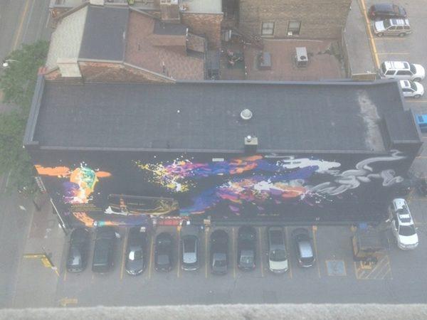 Aerial shot of mural from @mjvinny