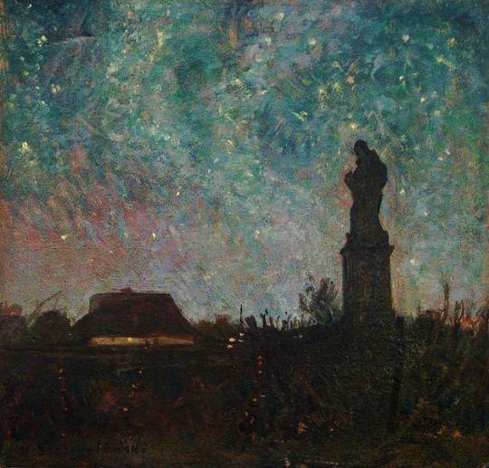 """Henryk Szczygliński [Polish, 1861-1944]: """"Nokturn z kapliczką"""" [Nocturne with a Wayside Shrine], c. 1928"""