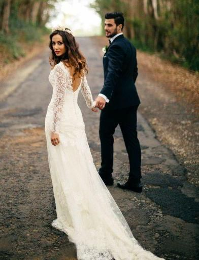 56ca91b2f5f Romantic Bohemian Long Sleeves Sexy Deep V Neck Backless Lace Wedding Dress -715398