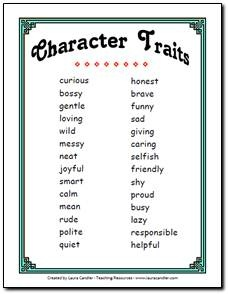 Free Character Trait List for Primary Grades. How might you use this in your class to discuss the presidential candidates?