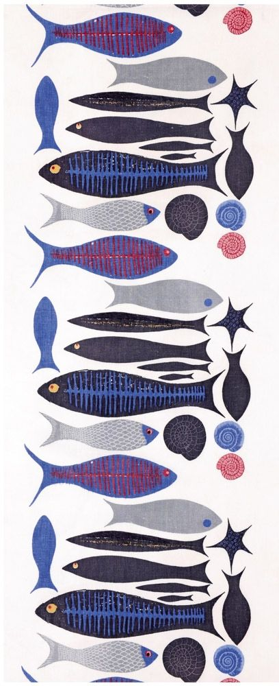 Ken Scott; Screen Printed Linen 'A Fish is a Fish' Fabric for Quaintance, 1951.