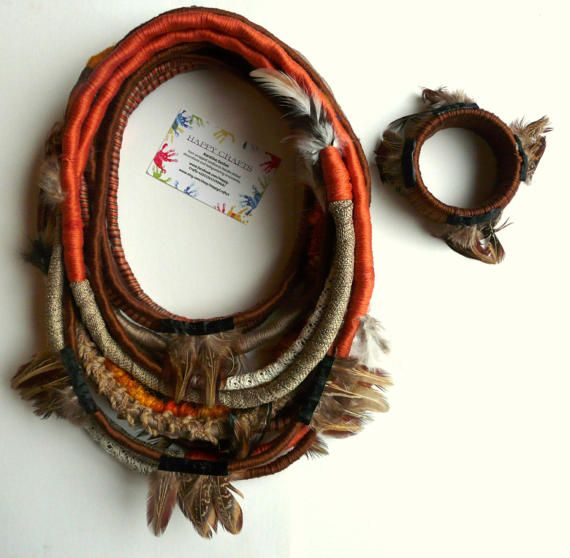 Unique/ Yarn Wrapped necklace/ African Style/ by HappyCrafts1