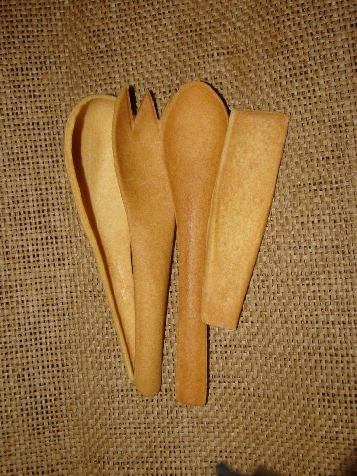 various shapes of edible cutlery