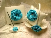 Turquoise Silk Satin Flower Wedding Collection
