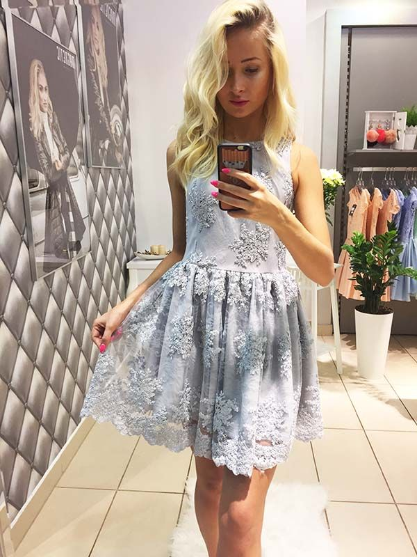 E495 Przepiękna Sukienka z Koronki Szara, LUXURY MAGNETIC