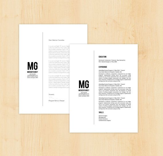 Resume Template / Cover Letter Template - The Meredith Grey Resume Design - Instant Download - Word Document / Doc / Docx Format