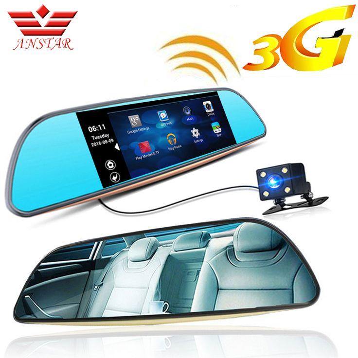 Anstar 3g android 5.0 mobil dvr kamera perekam video gps navi Bluetooth FM WIFI Dual Lens Cermin Spion Camcorder Dash Cam Dvr