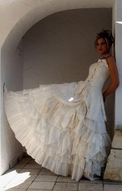 Vintage white steampunk wedding dresses