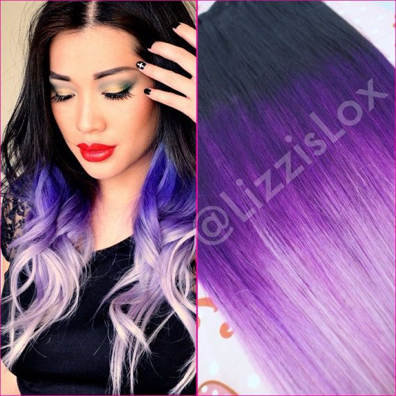 Black To Purple Ombre Dip Dye Clip In Hair Extensions full set 7 piece Human Hai…